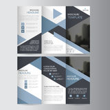 Blue triangle business trifold Leaflet Brochure Flyer report template vector minimal flat design set, abstract three fold. Presentation layout templates a4 size royalty free illustration