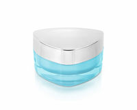 Blue triangle cosmetic jar on stock images