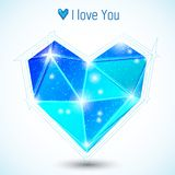 Blue triangle heart. Frozen heart concept Royalty Free Stock Photos