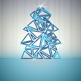 Blue triangle outline christmas tree card Royalty Free Stock Photography