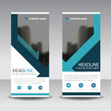 Blue triangle roll up business brochure flyer banner design , co Royalty Free Stock Images