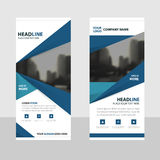 Blue triangle roll up business brochure flyer banner design , cover presentation abstract geometric background Stock Photos