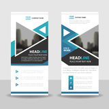 Blue triangle roll up business brochure flyer banner design , cover presentation abstract geometric background, modern publication. X-banner and flag-banner Royalty Free Stock Photo