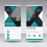 Blue triangle roll up business brochure flyer banner design , cover presentation abstract geometric background, modern publication Royalty Free Stock Photos