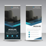 Blue triangle roll up business brochure flyer banner design , cover presentation abstract geometric background, modern publication vector illustration