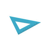 Blue triangle ruler, measuring tool cartoon vector Illustration. Isolated on a white background Royalty Free Stock Photography