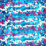 Blue triangle seamless pattern with grunge effect vector illustration