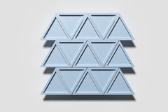 Blue triangles arranged in lines. 3d rendering of blue triangles arranged in lines Stock Photography