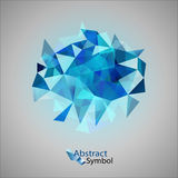 Blue Triangles. As abstract symbol on the gray background Stock Image