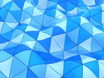 Blue triangles background. Abstract 3d illustration of curved blue triangles background Stock Photos