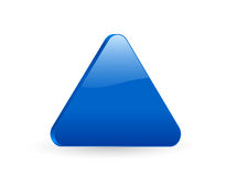 Blue triangular 3d icon 2. 3D blue triangular isolated on white background. Vector illustration Royalty Free Stock Image