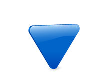 Blue triangular 3d icon. 3D blue triangular isolated on white background. Vector illustration Royalty Free Stock Image