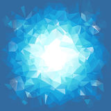 Blue triangular explosion in a low poly style. EPS8 Vector Royalty Free Stock Image