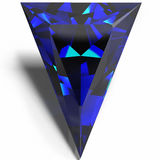 Blue triangular jewel. On a white background Stock Photography