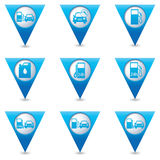 Blue triangular map pointers with gas station icons Stock Photos