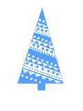 Blue triangular tree with geometric pattern Royalty Free Stock Photos