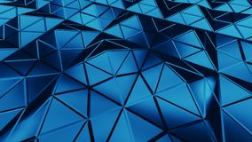 Blue triangulated surface abstract 3D rendering. Blue triangulated surface. Abstract 3D rendering of modern low poly shape Royalty Free Stock Photos