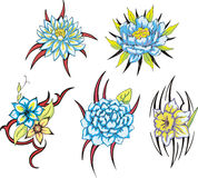 Blue tribal flower tattoos Stock Photos
