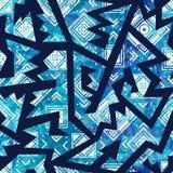 Blue tribal seamless pattern stock illustration