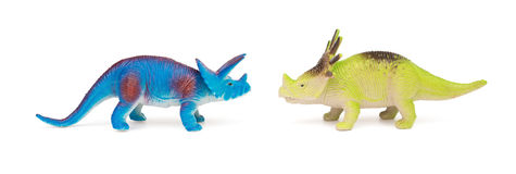 Blue triceratops and green styracosaurus toys on white background. Blue triceratops and green styracosaurus toys on a white background Stock Photography