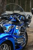 Blue tricycle Honda 1800 Gold Wing. Rear view of control panel and windshield. Close up royalty free stock image