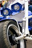 Blue trike metal details close up. Close up details of blue trike with chrome parts Stock Photo
