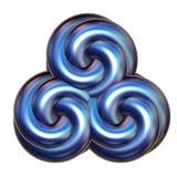 Blue Triple Swirl over white Stock Photo
