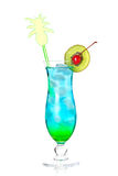 Blue tropical alcohol cocktail Stock Photo