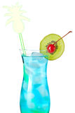 Blue tropical alcohol cocktail Stock Image