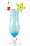 Blue tropical cocktail with coconut cream Royalty Free Stock Photography
