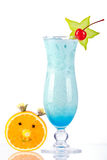 Blue tropical cocktail with coconut cream and oran Royalty Free Stock Images