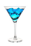Blue tropical cocktail in glass. On a white background Stock Photos