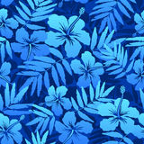 Blue tropical flowers seamless pattern Stock Photos