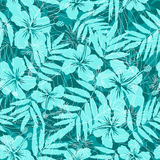 Blue tropical flowers silhouettes seamless pattern Royalty Free Stock Photos