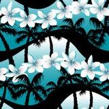 Blue tropical frangipani flowers with palm tree seamless pattern Stock Photos