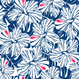 Blue tropical hibiscus and palm seamless pattern Royalty Free Stock Images