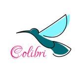 Blue tropical hummingbird abstract symbol Stock Image
