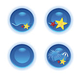 Blue tropical icon set Stock Photo