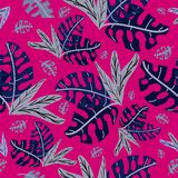 Blue tropical leaves on a pink color. Illustrations seamless pattern stock illustration