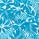 Blue tropical leaves seamless pattern Royalty Free Stock Images