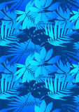Blue tropical leaves. Vector illustration of tropical flowers in a repeat pattern Royalty Free Stock Photography
