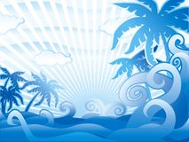 Blue tropical scene vector illustration