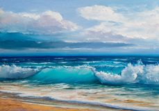 Oil painting of the sea on canvas. Blue, tropical sea and beach. Wave, illustration, oil painting on a canvas royalty free stock photos