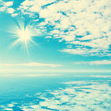 Blue tropical sea and clouds on sky beach. Stock Photos
