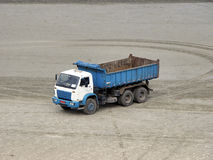 Blue truck. Parkied on the beach sand royalty free stock image