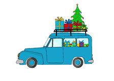 Blue truck with Christmas gifts Stock Photography