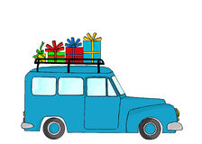 Blue truck with Christmas gifts Stock Image