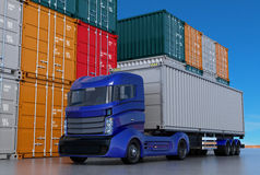 Blue truck in container port. 3D rendering image Royalty Free Stock Photography