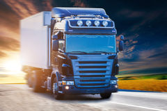 Blue truck on highway Stock Image