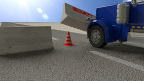Blue truck hits concrete roadblock on a sunny day pushing away t Stock Photo
